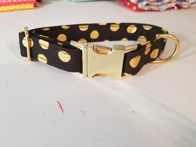 Polycotton Large Gold Metallic Polka Dot (optional lead)