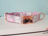 Polycotton collar pretty in pink (Optional flower & lead)