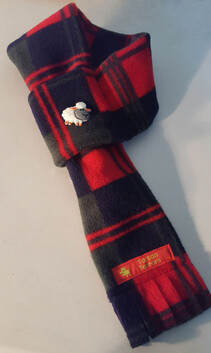 Fleece Scarf - Red, Navy & Grey Check
