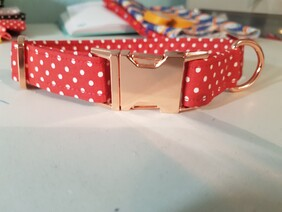 Polycotton Red and White Polka Dot Collar