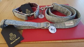Harris Tweed Collar & Lead set - Grey