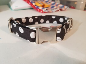 Polycotton Large Silver Polka Dot (optional Lead)