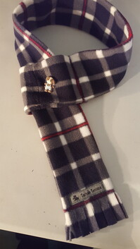 Fleece Scarf - Navy & Grey Check